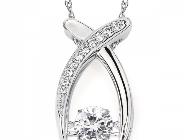 Pendants & Necklaces - Shimmering Diamond Crossover Pendant